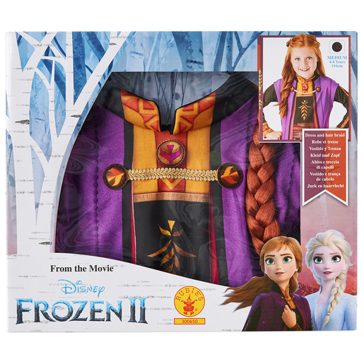 Disney Frozen 2 Anna Fancy Dress Set with Hair Braid - 4-6 Years