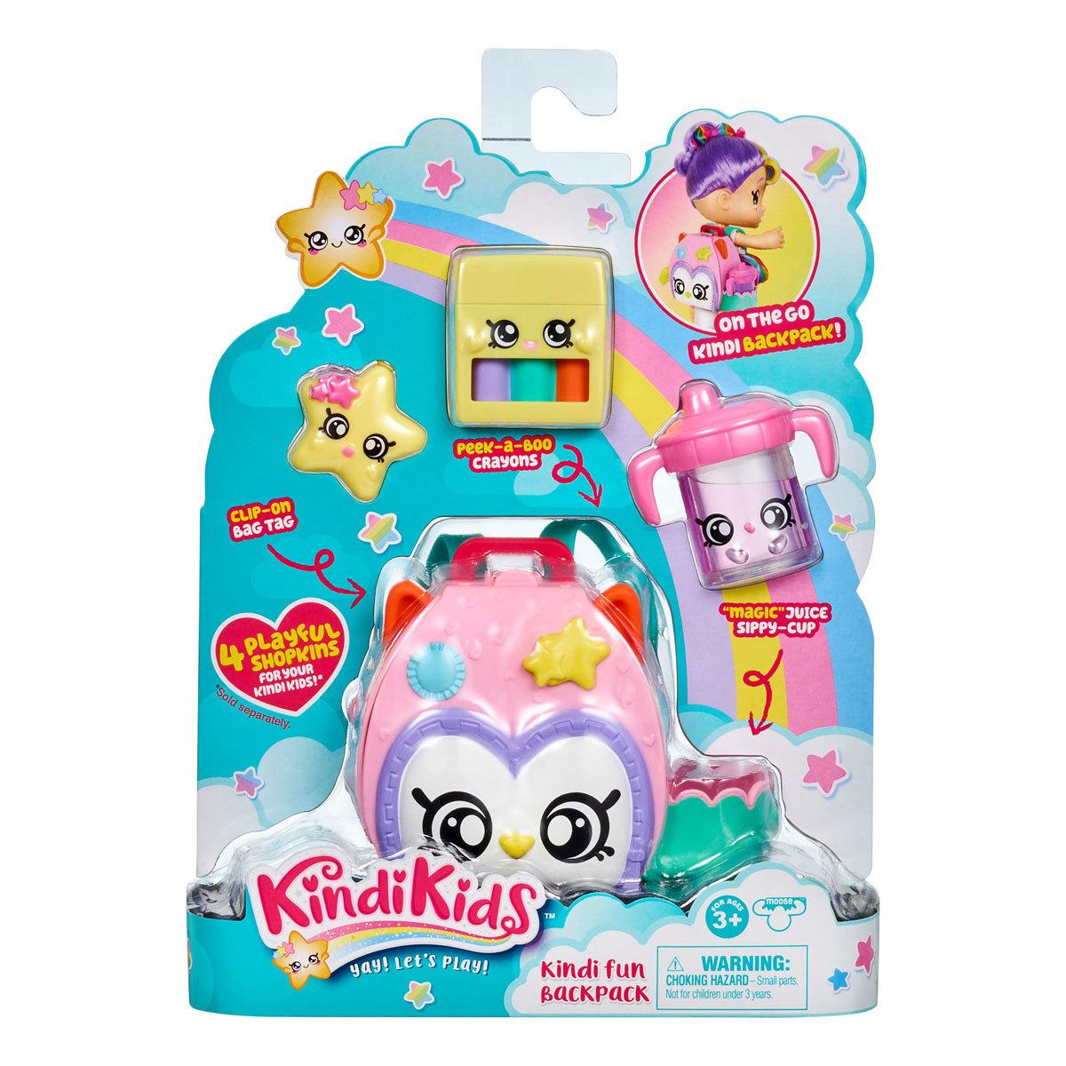 Kindi Kids Owl Petkin Sac à dos et 3 Shopkins