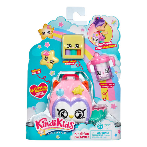 Kindi Kids Owl Petkin Backpack and 3 Shopkins