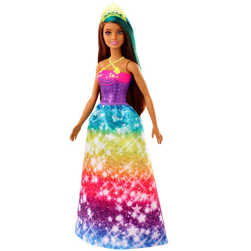 Barbie Dreamtopia Princess Doll - Brown Hair and Rainbow Glitter Dress