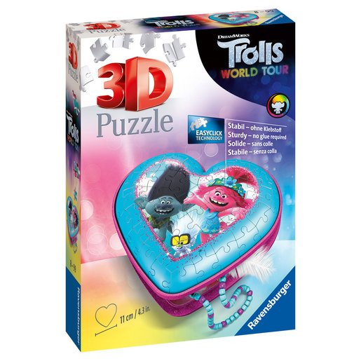 Ravensburger DreamWorks Trolls World Tour Heart Shaped 3D Puzzle - 54pcs.