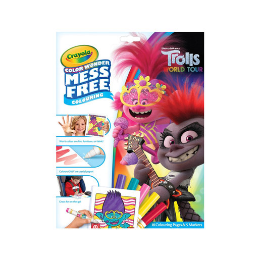DreamWorks Trolls World Tour Crayola Colour Wonder Mess Free Book