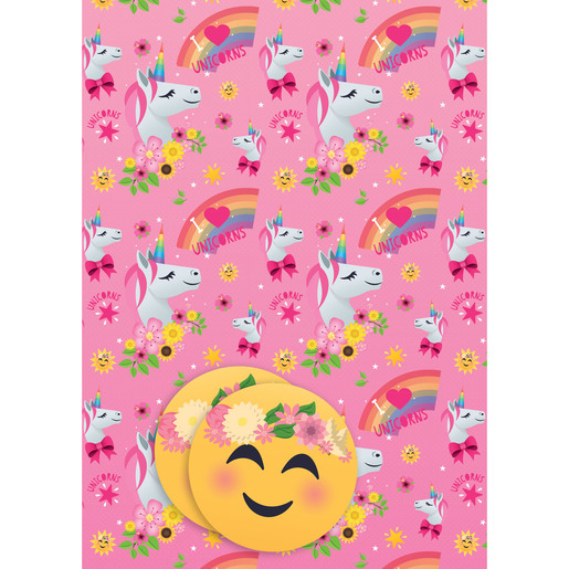 Joy Pixels Unicorn Wrapping Paper - 2 Sheets and 2 Tags