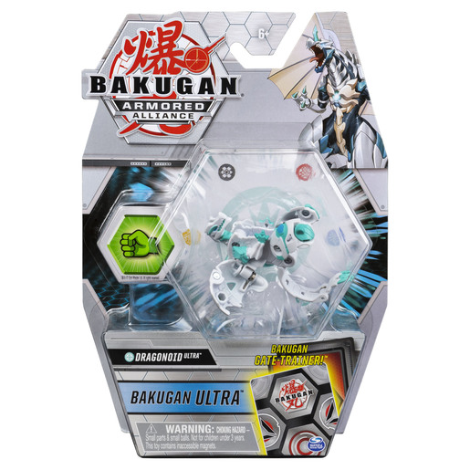 Bakugan Armored Alliance Ultra Trading Card and Figure - Dragonoid (White)