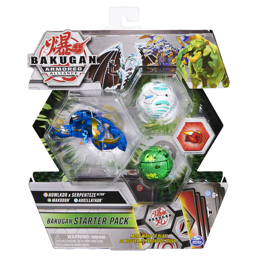 Bakugan Armored Alliance Starter Pack Trading Card and Figures - Fused Howlkor x Serpenteze, Maxodon and Auxillataur