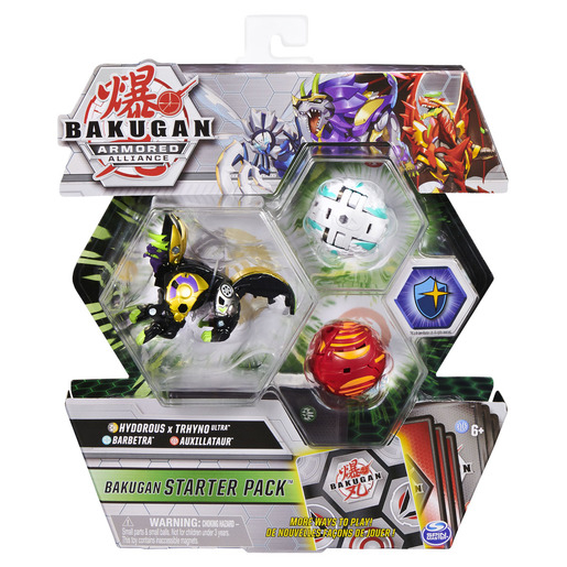 Bakugan Armored Alliance Starter Pack Trading Card and Figures - Fused Hydorous x Trhyno, Barbetra and Auxillataur