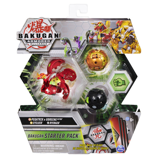 Bakugan Armored Alliance Starter Pack Trading Card and Figures - Fused Pegatrix x Goreene, Cycloid and Ryerazu