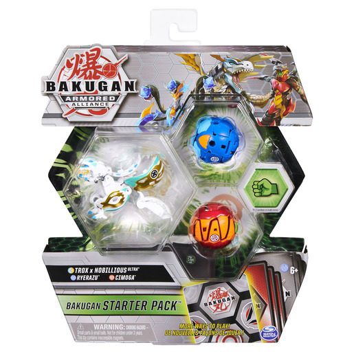 Bakugan Armored Alliance Starter Pack Trading Card and Figures - Fused Trox x Nobillious, Ryerazu and Cimoga