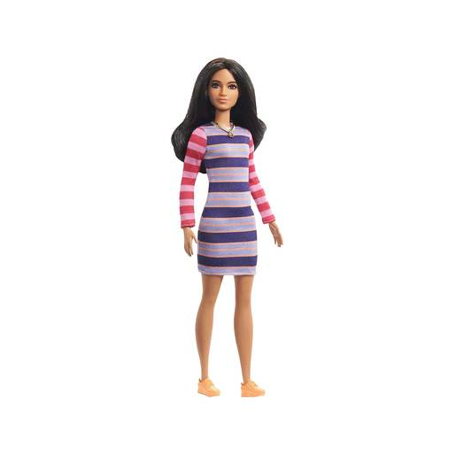 Barbie Fashionistas Doll - Brunette Hair Wearing Striped Dress