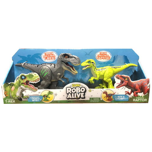 Robo Alive Dinosaurs - Grey T-Rex And Green Raptor