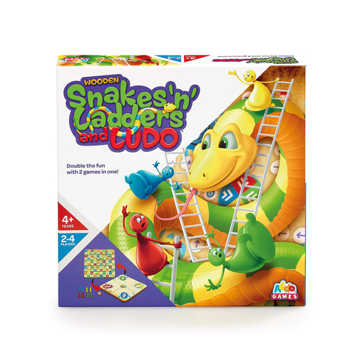 Addo Games Wooden Snakes, Ladders & Ludo