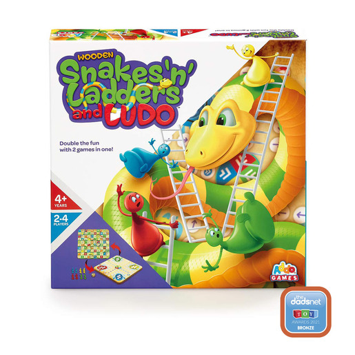 Addo Games Wooden Snakes 'n' Ladders and Ludo