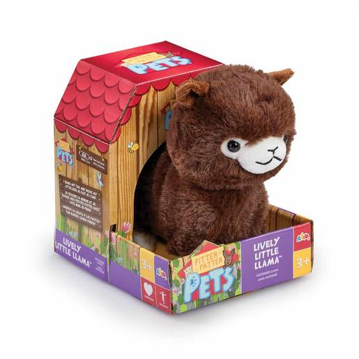 Pitter Patter Pets Lively  Soft Toy - Little Llama (Dark Brown)