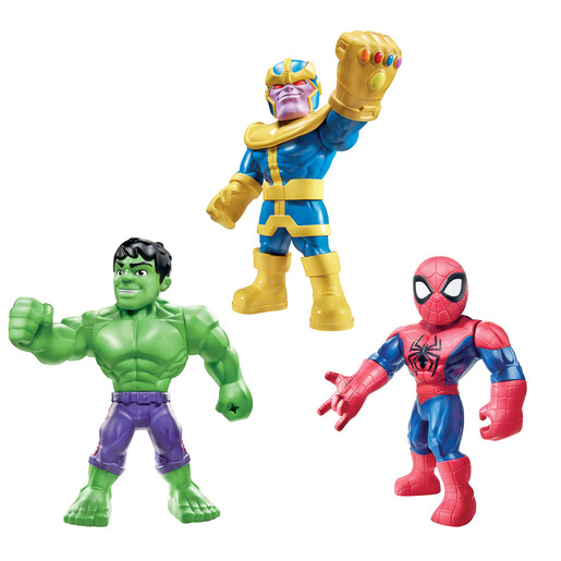 Playskool Super Hero Adventures Mighties 3 Figures   Hulk, Thanos And Spider Man