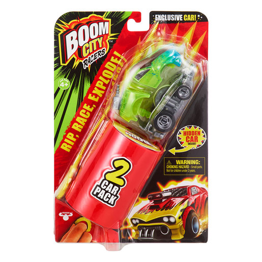 Boom City Racers 2 Car Pack - 1 Mystery Vehicle - Rip, Race, Explode (Styles Vary)