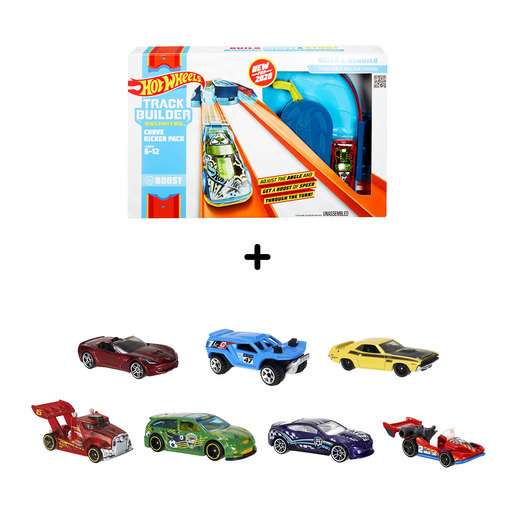 Hot Wheels Track Builder Bundle - 7 Cars and 1 Track Builder (Styles Vary) from TheToyShop