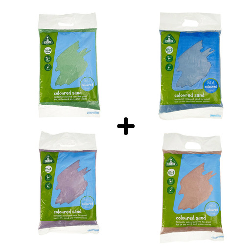 Early Learning Centre Coloured Sand 4 X 5kg Bags 1 X Blue 1 X Green 1 X Pink 1 X Purple Free Delivery