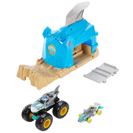 Hot Wheels Monster Trucks Pit and Launch Shark Wreak Playset