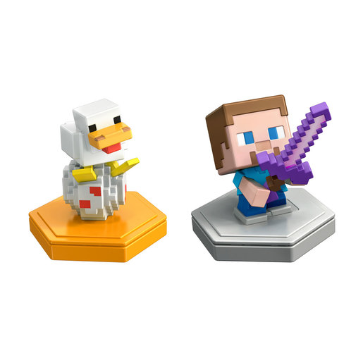 Minecraft Earth Mini Boost Figures - Attacking Steve and Spawning Chicken