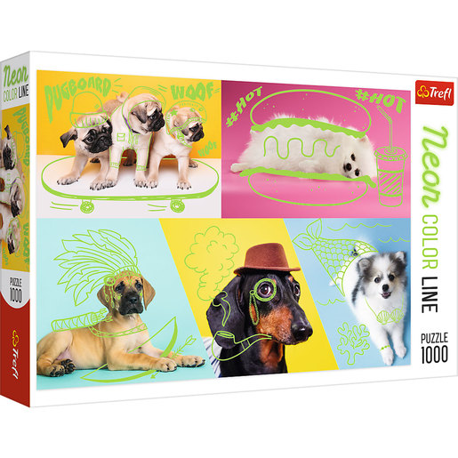 Trefl - Neon Colour Line Far Out Dogs 1000pc Puzzle