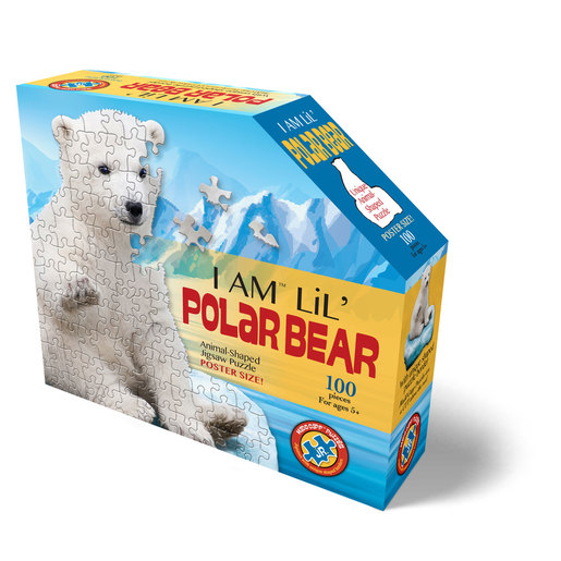 Madd Capp I Am Lil' Polar Bear Animal Shaped Poster Size Puzzle - 100pcs.