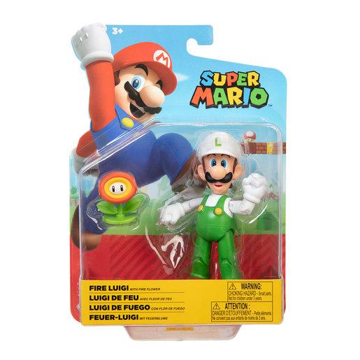 Super Mario 10cm Figure - Fire Luigi With Fire Flower
