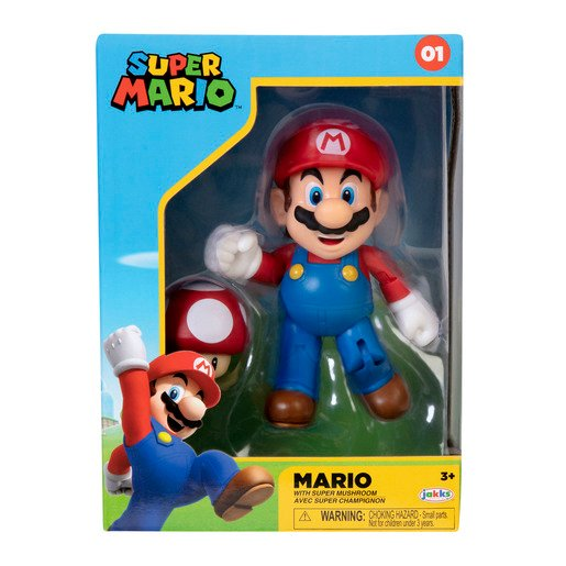 Super Mario 4 Inch Figure - Mario With Red Mushroom