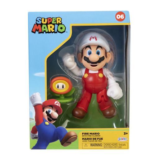 Super Mario 4 Inch Figure - Fire Mario With Fire Flower