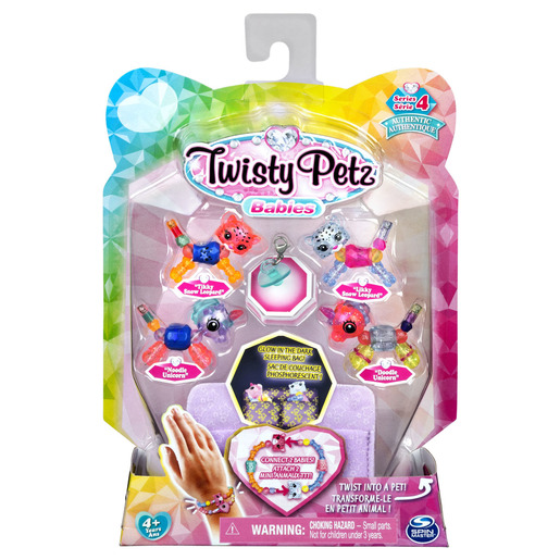 Twisty Petz Series 4 Babies - 4 Pack Tikky & Likky Snow Leporads With Noodie & Doodle Unicorns