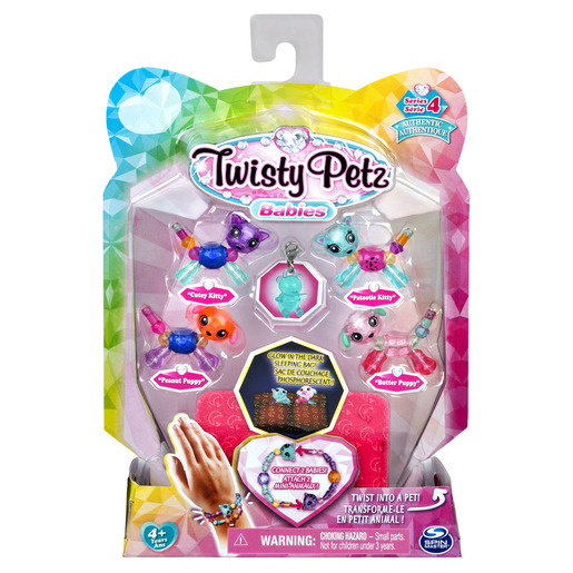 Twisty Petz Series 4 Babies - 4 Pack Cutey & Patootie Kitties With Peanut & Butter Puppies