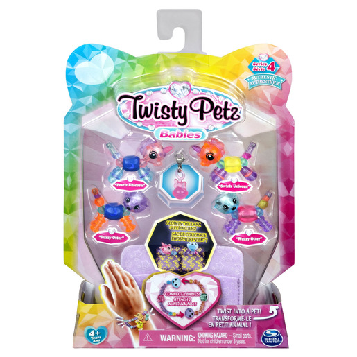 Twisty Petz Series 4 Babies - 4 Pack Pearlz & Swirlz Unicorns With Fuzzy & Wuzzy Otters