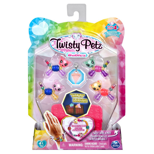 Twisty Petz Series 4 Babies - 4 Pack Winkle & Twinkle Kitty With ZooZoo & MooMoo Bears
