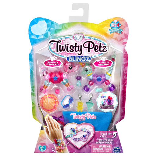 Twisty Pet Blingz Bracelet Set - Mcfuzzy Elephant & Jinglez Unicorn (Styles Vary)
