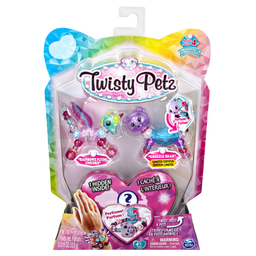 Twisty Petz Bracelet Set - Rainbowz Flying Unicorn, Grizzle Bear & Surprise