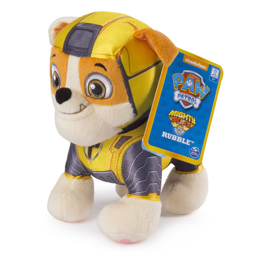 Paw Patrol 20cm Mighty Pup Plush - Rubble from TheToyShop
