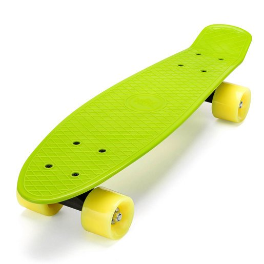 Xootz Kids Retro Plastic Complete Cruiser Skateboard with LED wheels - Green
