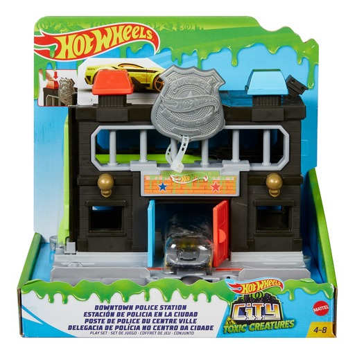 Hot Wheels Downtown Toxic Police Station Playset