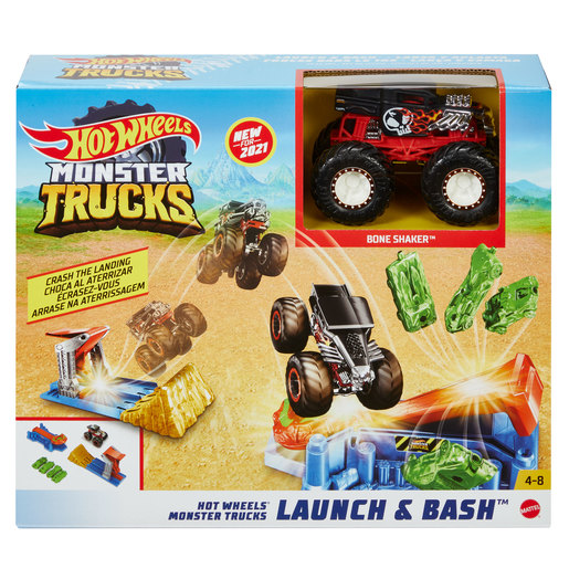 Hot Wheels Monster Trucks Launch and Bash Playset