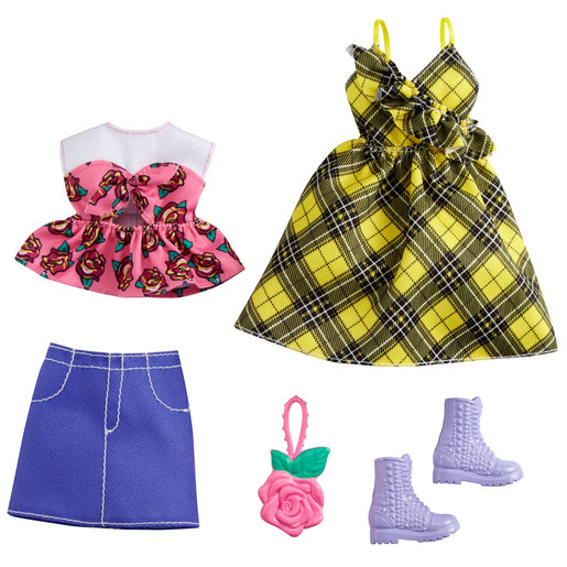 Barbie Doll Fashion Pack   Yellow Check Dress & More