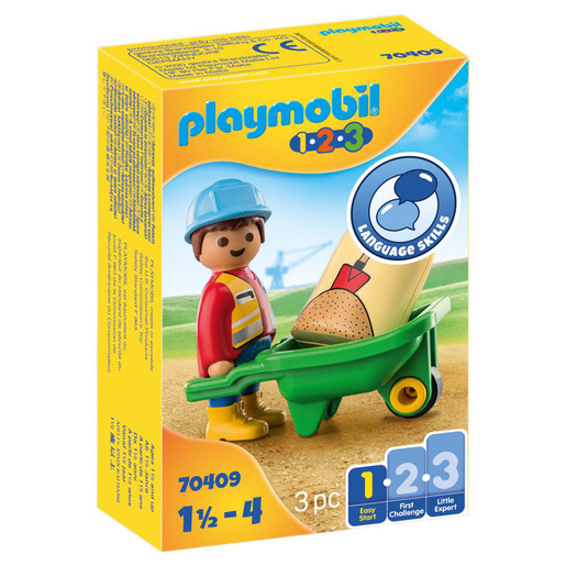 Playmobil 70409 1.2.3 Construction Worker with Wheelbarrow Playset
