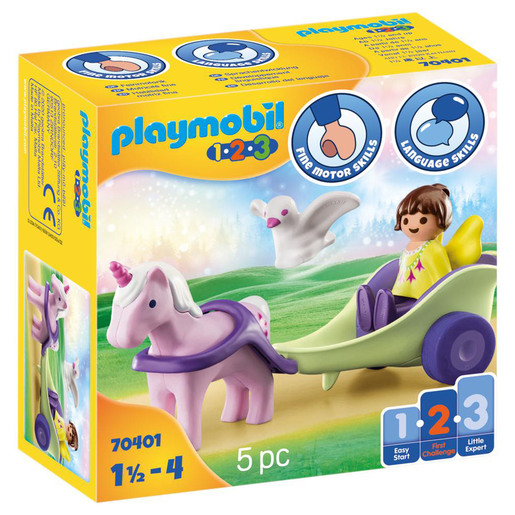 Playmobil 70401 1.2.3 Unicorn Carriage with Fairy Figures