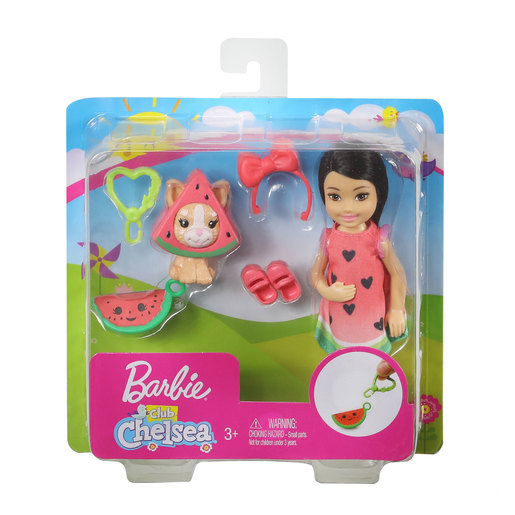 Barbie Club Chelsea Dress-Up Doll with Pet and Accessories - Watermelon Dress