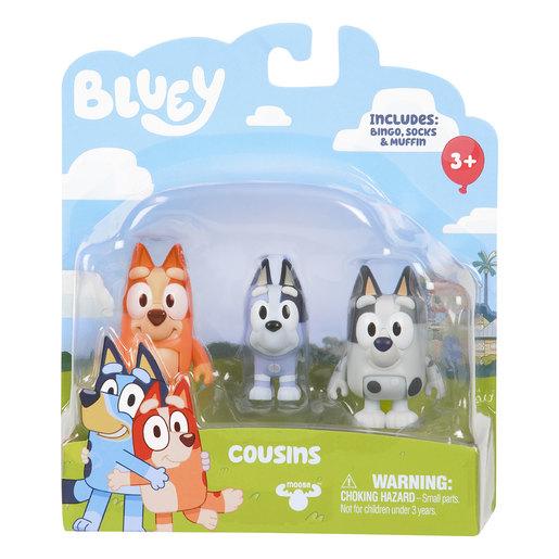 Bluey Bingo, Socks & Muffin Cousins Figures 3pk