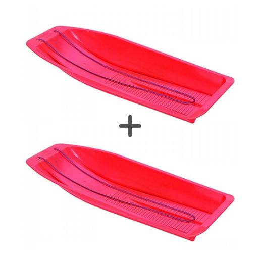 Kids Plastic Sledge Twin Pack Colours Vary