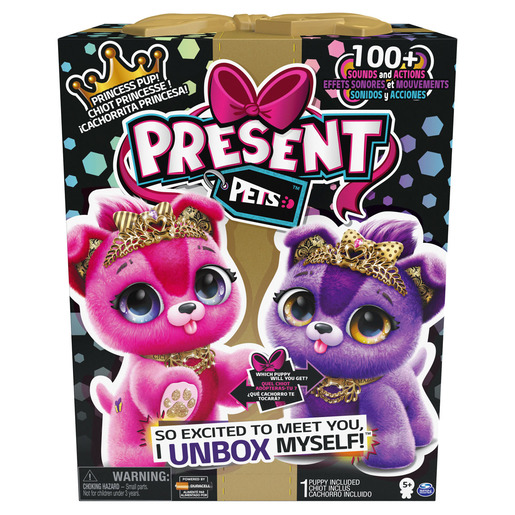 """Present Pets Interactive 12"""" Puppies: Sparkle Princess Soft Toy (Styles Vary)"""