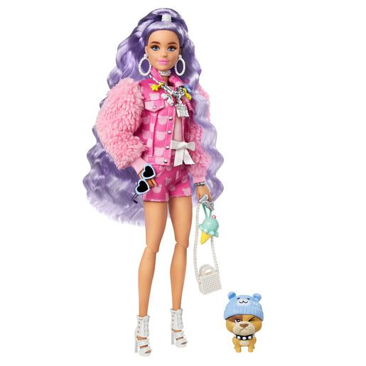 Barbie Extra Doll Millie With Periwinkle Hair And Pet Bulldog Figure