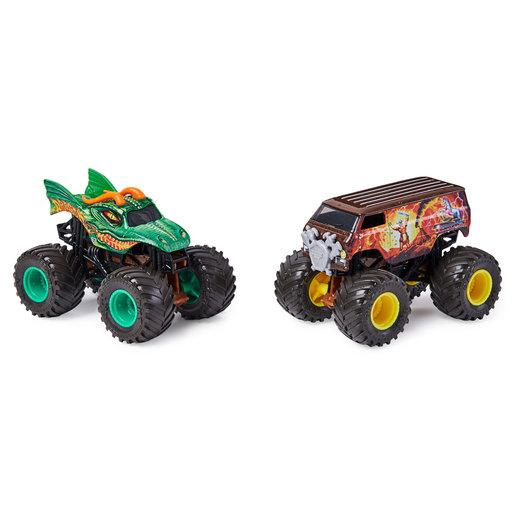 Picture of Monster Jam 1:64 Color Changing Monster Truck 2 Pack - Dragon vs Thunder Bus