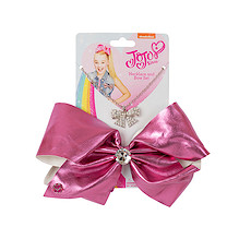 JoJo Siwa 20cm Metallic Faux Leather Bow And Necklace Set - Hot Pink