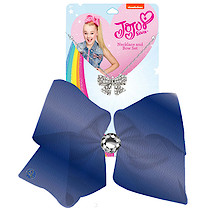 JoJo Siwa 20cm Metallic Faux Leather Bow And Necklace Set - Navy
