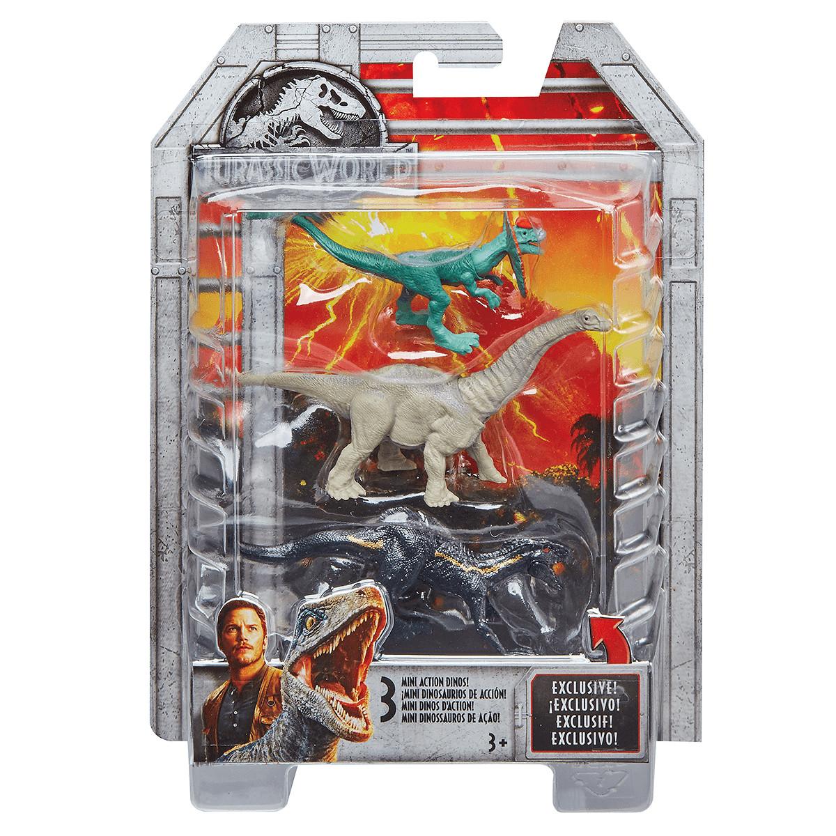 Jurassic World Mini Dino 3 Pack - Apatosaurus, Dilophosaurus and Metallic  Indoraptor